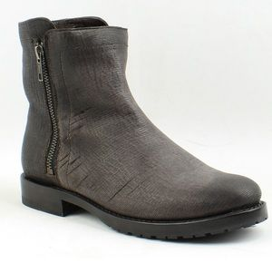 FRYE Natalie Charcoal Leather Double Zip Boots 8